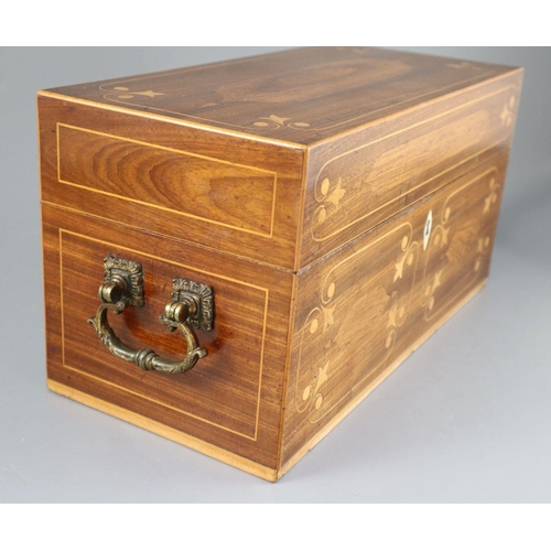 47 - <B>A Regency inlaid mahogany tea caddy,</b></i> of plain rectangular form, with gilt bronze handles,...