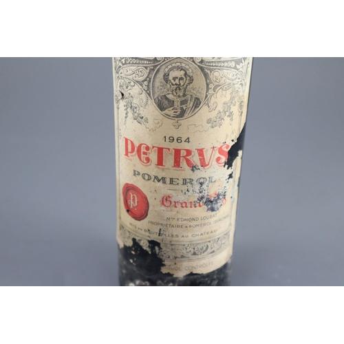 5 - <B>A bottle of .75cl Petrus 1964 Pomerol Grand Vin - Mme Edmond Loubat</b></i><br><br>CONDITION: Lev...