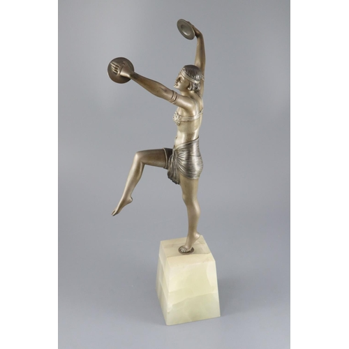54 - <B>Henri Fugère (French, 1872 ~ 1944) - an Art Deco patinated bronze figure of a cymbals dancer,</b>...