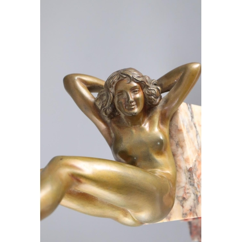55 - <B>Claire Jeanne Roberte Colinet (1880–1950) - an Art Deco patinated bronze figure of a naked hoop d...