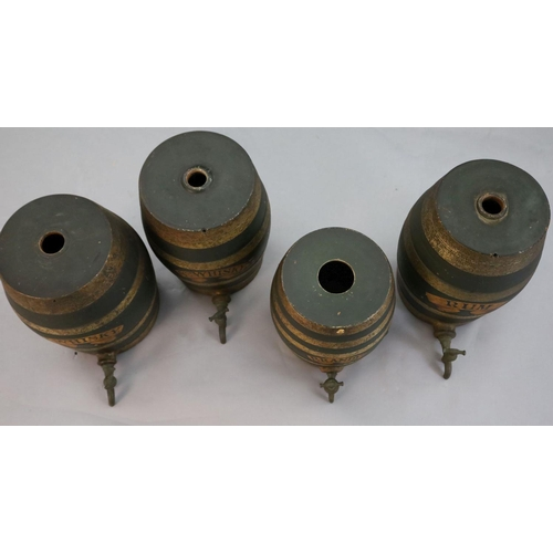 6 - <B>A set of four Victorian painted stoneware spirit barrels, I.Whisky, SCH.Whisky, Rum and Brandy,</...