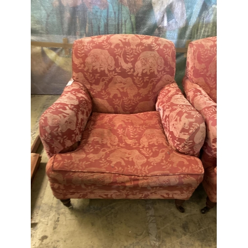 23 - A pair of late Victorian style upholstered lounge armchairs, width 88cm, depth 98cm, height 83cmCOND...