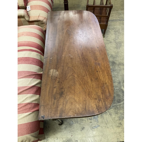 24 - A Regency D shape mahogany folding tea table, width 93cm, depth 45cm, height 74cm