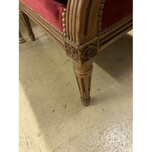 25 - A pair of Louis XVI style upholstered mahogany armchairs, width 64cm, depth 70cm, height 93cm...