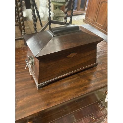 43 - A Victorian rosewood sarcophagus tea caddy, width 34cm, depth 19cm, height 22cm
