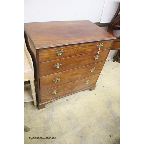 12 - A 19th century mahogany chest of four long drawers, width 94cm, depth 54cm, height 93cm
