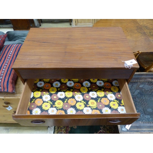 24 - A 1960's teak Zebrano chest of five drawers, width 77cm
