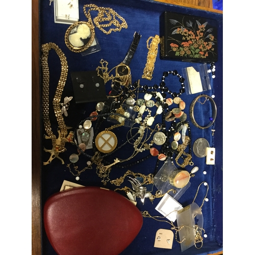 28 - A quantity of costume jewellery, including wristwatches, pearl beads etc -...