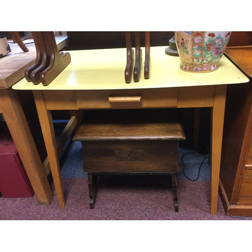 A 1950 S Formica Topped Kitchen Table The Surface In Pale Yellow Over Side Drawer And Tapering Legs