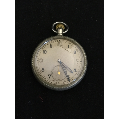 25 - A military issue pocket watch,  the unsigned dial with subsidiary dial, the case with crows foot, 6E...