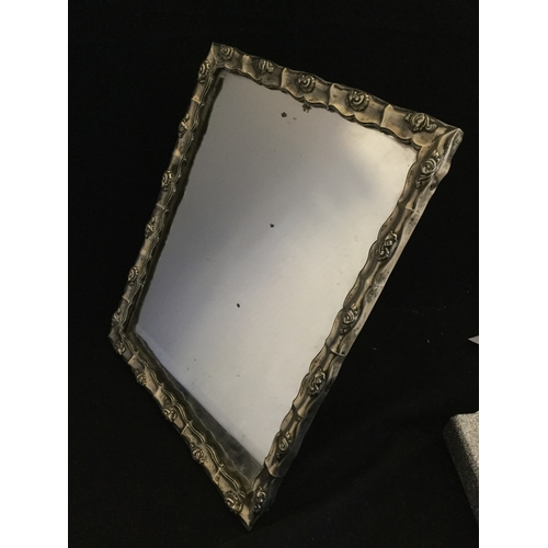 3 - A silver faced easel backed mirror,  Austrian marks, with foliate decoration to frame -...