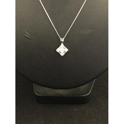 4 - A modern 9ct white gold CZ set pendant  on chain -...