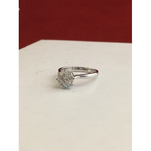 12 - A diamond single stone ring,  of approximately 1.6ct, eight claw set to 18ct white gold mount -...