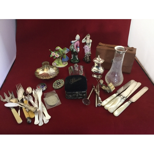 15 - A mixed lot,  to include silver rimmed vase, assorted plate, mother-of-pearl forks ceramic figures, ...