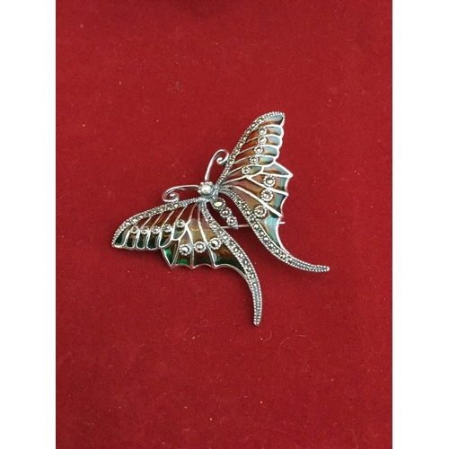 48 - A modern silver and plique a jour enamel brooch,  depicted as a butterfly -...