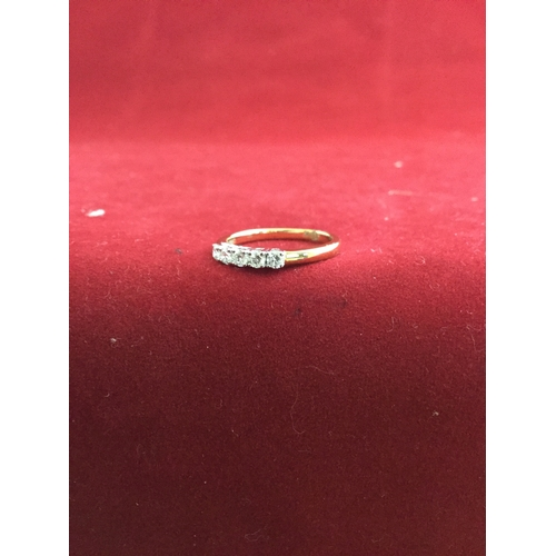 52 - A modern diamond five stone ring,  the diamond of approximately 0.35ct total, in 18ct gold -...