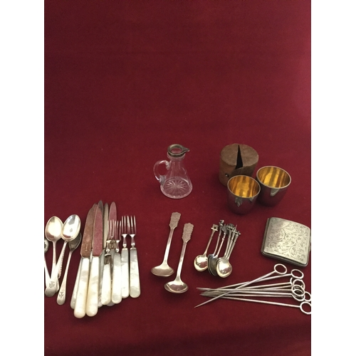 56 - A mixed lot of silver and plated items,  including small glass jug with silver rim, continental spoo...