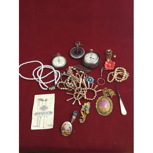 57 - A Waltham black faced trench pocket watch,  together with assorted other watches and costume jewelle...