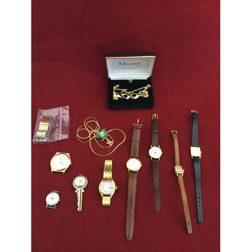 2 - A small collection of wristwatches,  together with a Monet necklace and another gold tone necklace -...