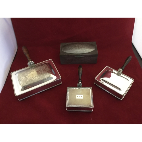 9 - Three silver plated cigarette boxes,  each handled, and a pewter cigarette box (4) -...