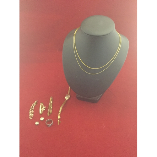 16 - A 9ct gold necklace, another  and a 9ct gold wristwatch etc -...
