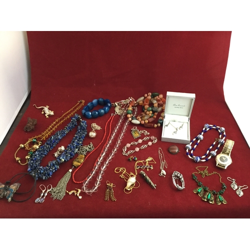 42 - A silver and rose quartz bracelet,  a silver necklace and earring suite and assorted costume jewelle...