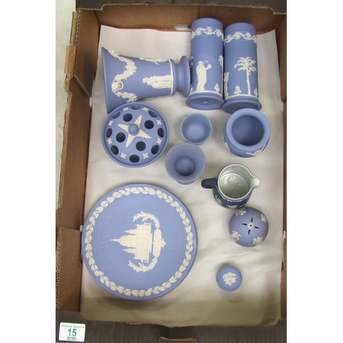 15 - Wedgwood jasper ware: to include a pair of vases, flared vase, pot pourri pot, plates, jugs etc ( 1 ...