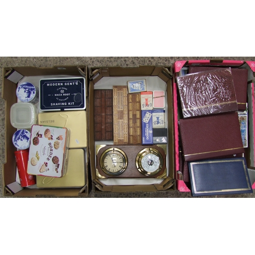 17 - A mixed collection of items to include: Amateur Stamp collections, mid century postcards, tin boxes,...