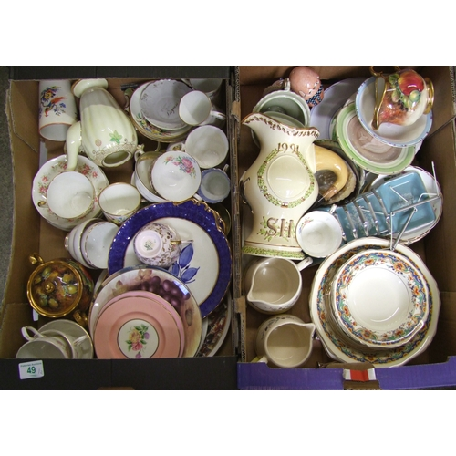 49 - A mixed collection of items to include: floral decorated tea ware, large commemorative jug, hand dec...
