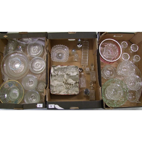 9 - A large collection of pressed: and cut glass items including bowls, fruit bowls, boxed glasses etc (...