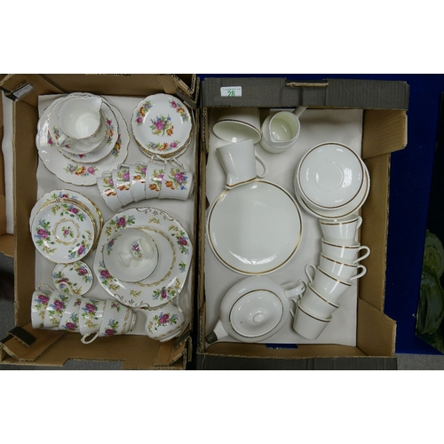 28 - 3x Part tea sets: Royal Chelsea, Collinswood & Royal Tuscan part sets, together with wedwood items i...