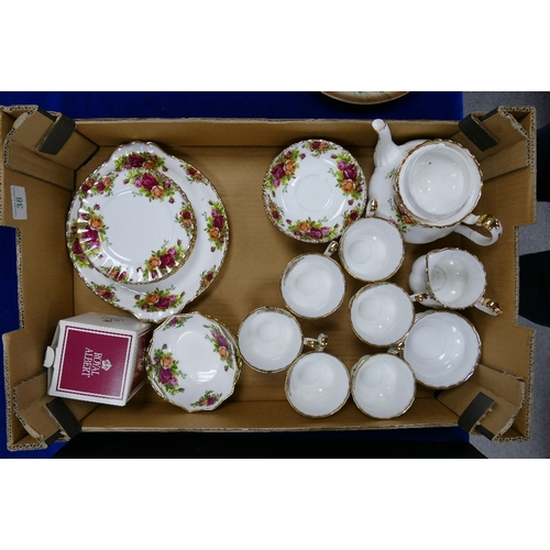 38 - Royal Albert Old Country Rose tea set: together with 2 pin dishes and a ceramics shoe...