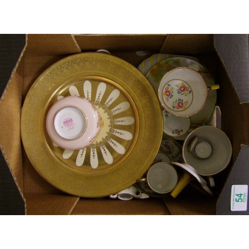 54 - A mixed collection of items to include : Aynsley Orchard Gold decorated cabinet plate, T. Goode coff...