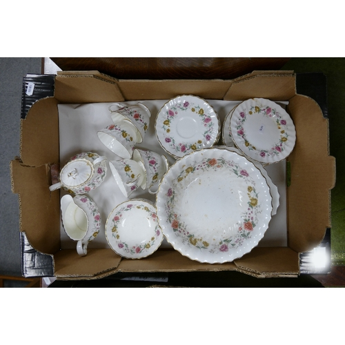 30 - Royal Doulton Rosell patterned tea set: together with additional item included...