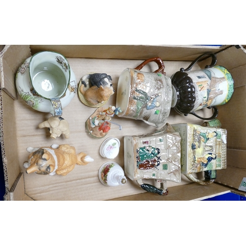 20 - A mixed collection of items to inlcude Royal Doulton and Beswick Embossed Jugs: Pickwick papers, Whi...