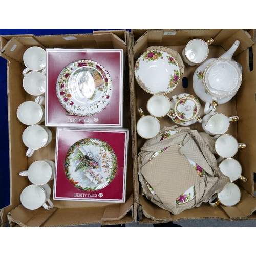 27 - A collection of Royal Albert Old Country Rose items to include: part tea set, fruit bowls, side plat...