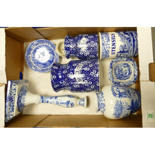 28 - A collection of Spode Italian design items: to include over sized candlestick, vase, untensil pot, d...