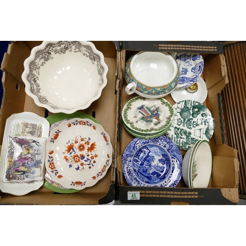 45 - A mixed collection of items to include large spode Delamere fruit bowl: Royal Doulton Tudor Grove tu...