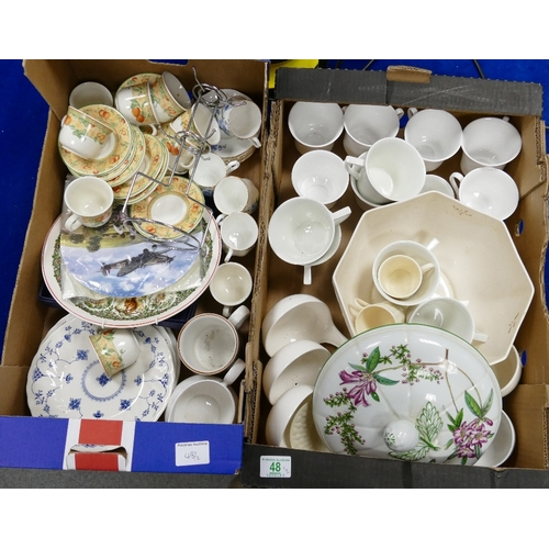 48 - A mixed collection of items to include undecorated large fruit bowl: similar dinner ware together wi...