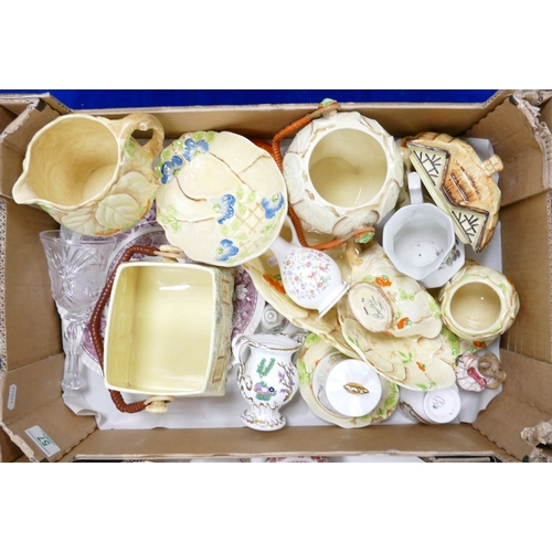 57 - A mixed collection of items to include: Bewley & similar embossed cottage ware items  including jugs...