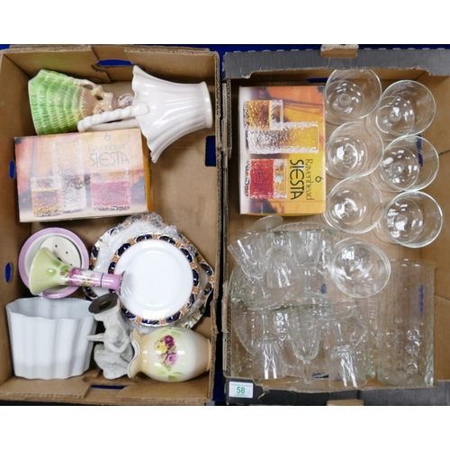58 - mixed collection of items to include: cut and pressed glass items, early pottery typr figures, jelly...