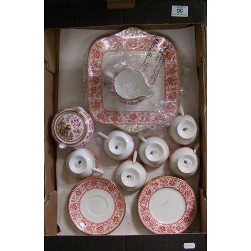 56 - Wedgwood Red Demask patterned part tea set: 2 saucers missing...