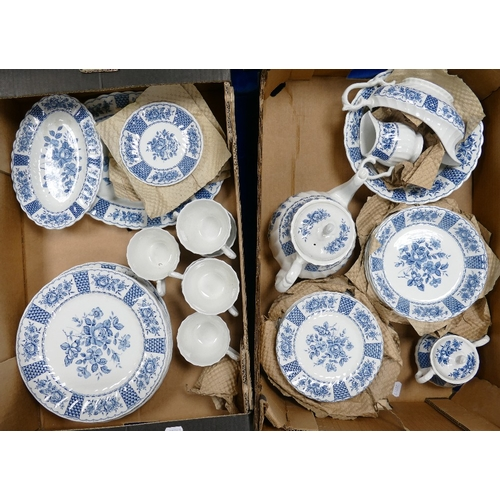 22 - A large collection of Franciscan melody patterned blue and white decorated ironstone tea and dinner ...