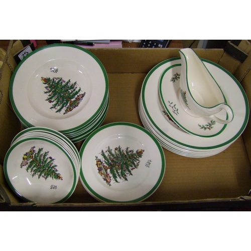 25 - A collection of Spode Christmas tree patterned dinner ware: to include 8 dinner plates, 8 rimmed sou...