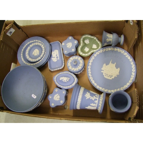 26 - A collection of Wedgwood jasper ware: to include bowl, vases, lidded boxes, Christmas plate etc (1 t...