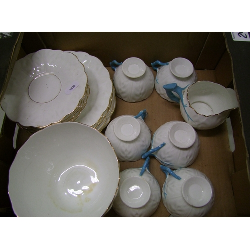 29 - Aynsley style part tea set: to include 6 trio's, milk jug and large bowl. hairlines to jug and bowl