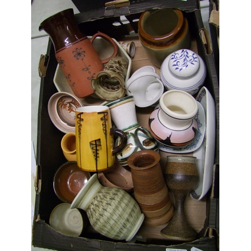 32 - A collection of studio pottery: to include a Den goblet, USSR jug, vases bowl, pots etc ( 1 tray)...