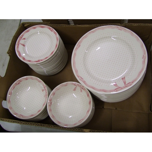 35 - Churchill Vanity Fayre dinnerware items: 24 each of dinner plates, side plates and bowls.