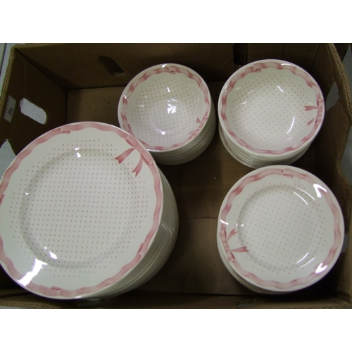 36 - Churchill Vanity Fayre dinnerware items: 24 each of dinner plates, side plates and bowls.
