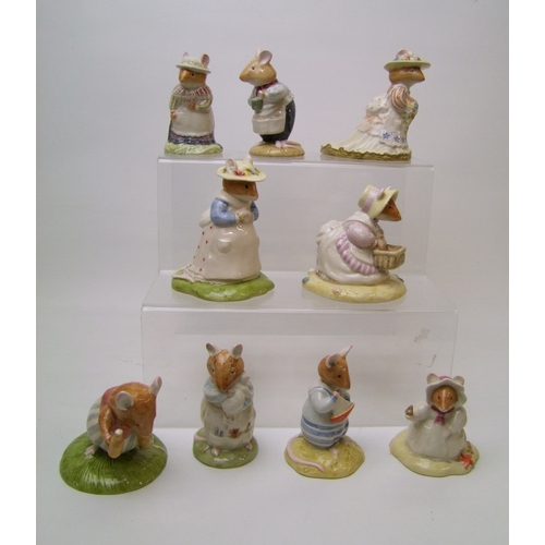 47 - Royal Doulton Brambley Hedge Figures to include: Basil DBH38, Dusty & Baby DBH26, Shrimp DBH43, Mrs ...